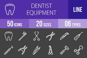 50 Dentist Line Inverted Icons