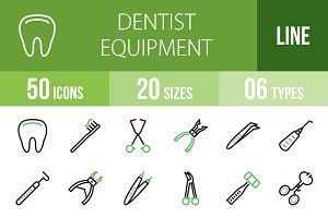 50 Dentist Line Green & Black Icons