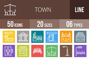 50 Town Line Multicolor Icons