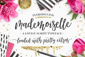 Mademoiselle Script Font + EXTRAS!