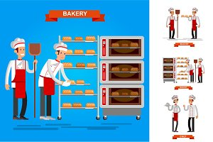 Baker characters vector illustration