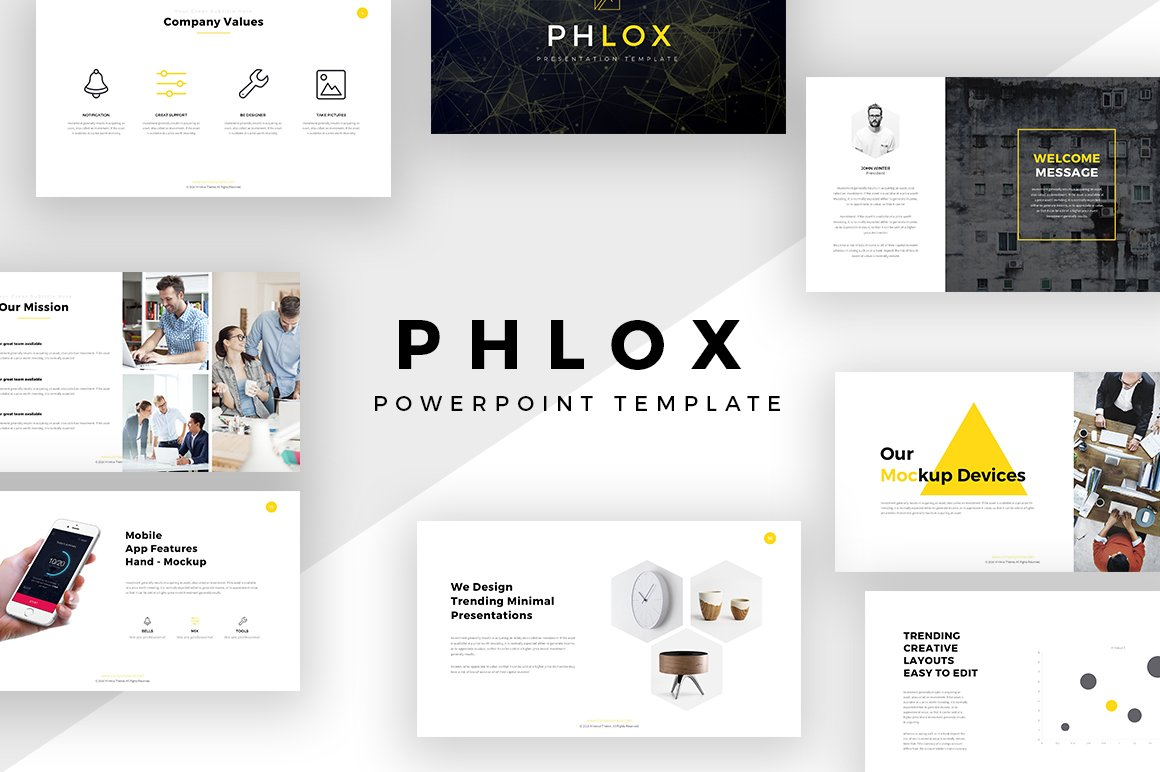 phlox minimal powerpoint template presentation templates creative market - Minimalist Powerpoint Template Free 2