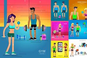 Bodybuilders & gym set