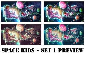 Cartoon astronaut kid in space pack!