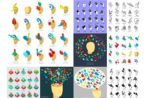 Brain process, isometric icons set