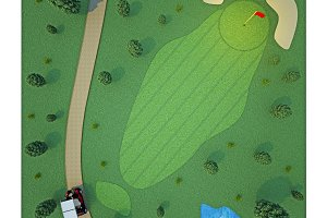 golf course. top view. 3d rendering