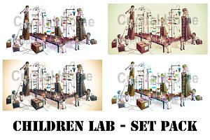 Cartoon kid scientists in lab pack