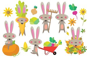 Autumn Bunny Clipart Set