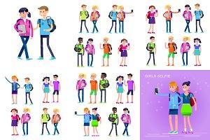 Schoolchildren characters set
