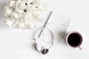 Styled Flatlay | Heaphones & Coffee