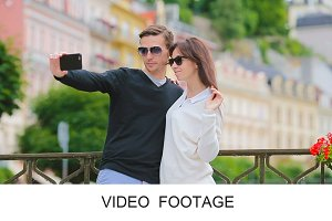 Happy couple taking selfie photo
