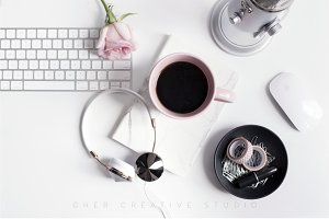 Styled Desktop | Microphone & Coffee