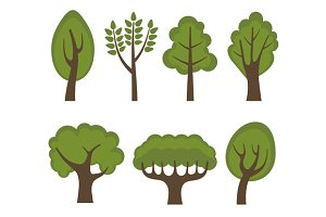 Green Trees Cartoon Style