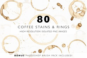 80 Coffee Stains, Rings & Splatters