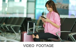 Airline passenger in airport lounge