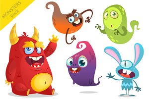 Cartoon monsters. Vector set
