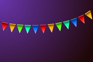 Holiday Birthday Colorful Flags