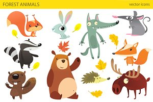 Cartoon forest animals. Vector set