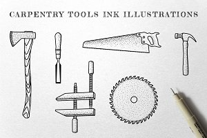 Carpentry Tools - Ink Illustrations