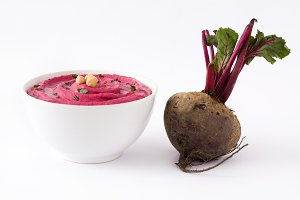 Beet hummus in a bowl