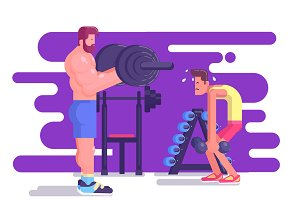 Illustration of muscular man workout