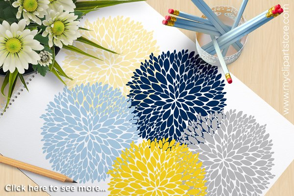 Flowers (Navy, Yellow) Clipart