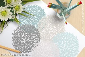 Flowers (Blue, Grey) Clipart