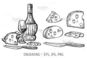 Cheese and wine set