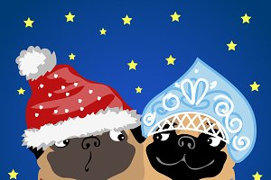 Santa Claus and snow maiden dogs