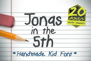 Jonas in the 5th Hand Drawn Kid Font