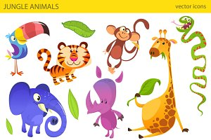 Cartoon african animals. Vector pack
