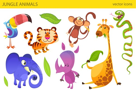 Cartoon jungle animals. Vector pack - Illustrations