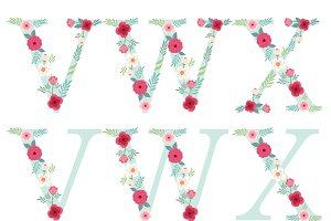 Cute floral rustic alphabet letters