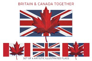 Britain UK and Canada Flag