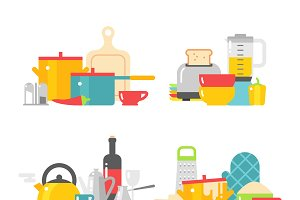 Kitchen dishes vector flat icons