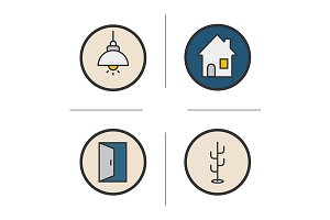 Home interior. 4 icons. Vector