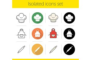 Kitchen accessories 12 icons. Vector
