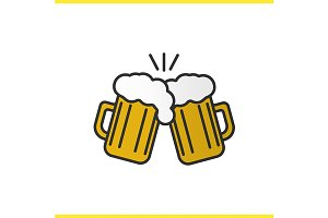 Toasting beer glasses icon. Vector