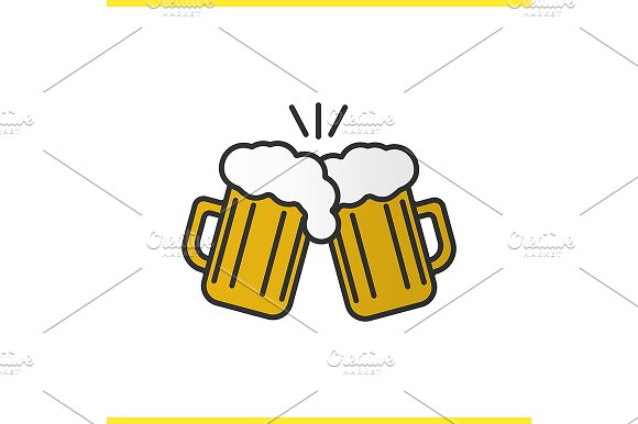 Toasting beer glasses icon. Vector - Icons