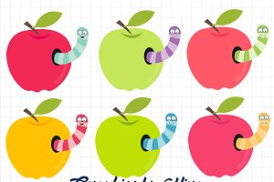 Apples with worms clipart