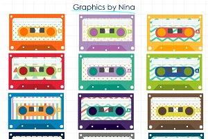 Cassettes Clipart-colorful clip art