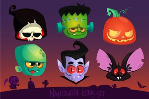 Cartoon Halloween vector icons