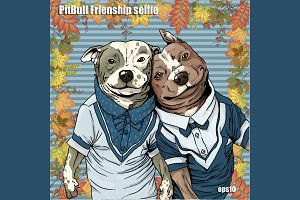 PitBulls selfie friendship
