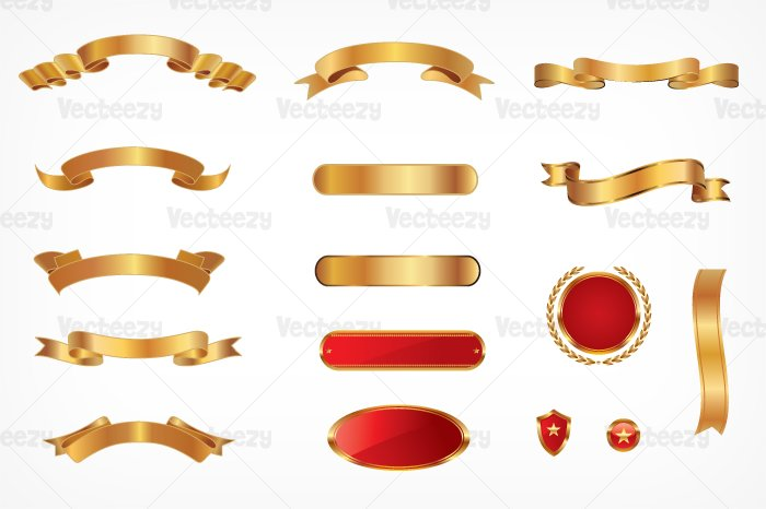 gold banner vectors graphic objects creative market