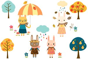 Cute autumn bunnies clipart