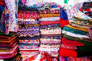 Fabric patterns in textile shop
