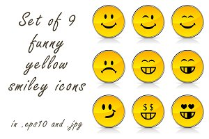 Set of funny yellow smiley icons