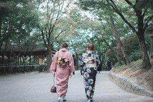 Kimono lady in Japanese Garden