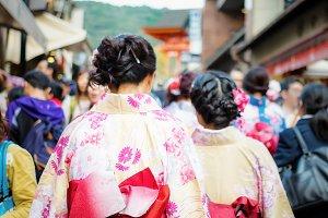 Young girls with Kimono