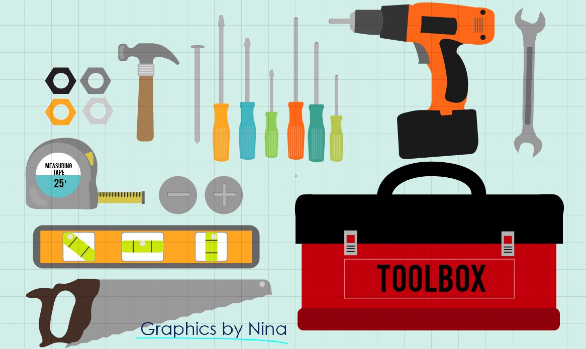 Tools-Toolbox Clipart ~ Illustrations ~ Creative Market